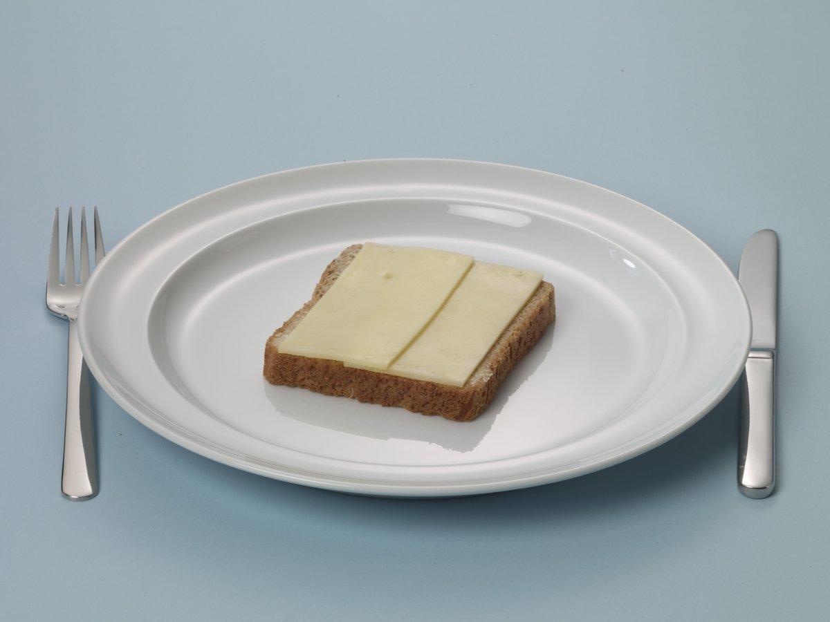 Bruine boterham met een sneetje kaas